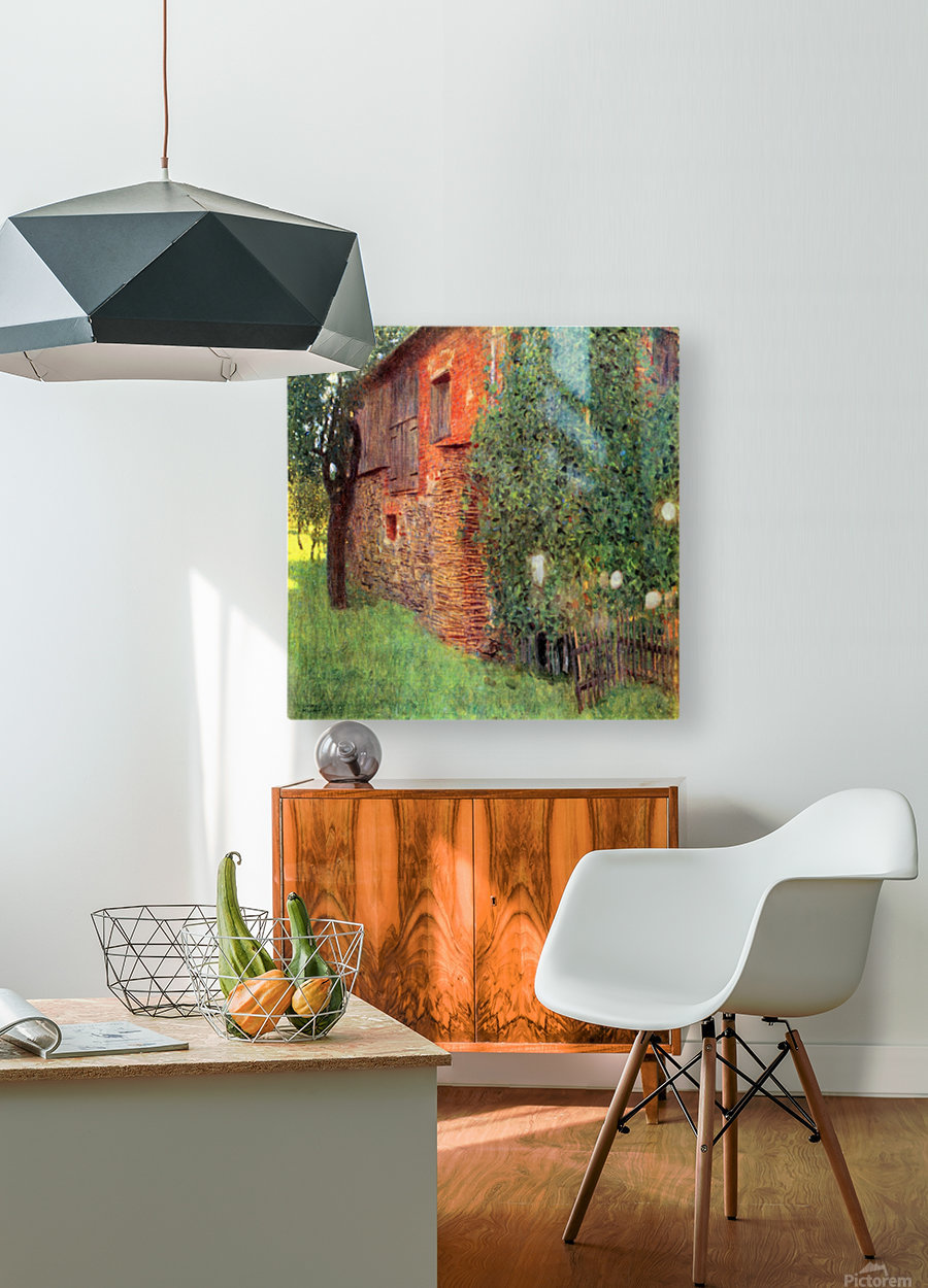 Farmhouse in Chamber in Attersee by Klimt  HD Metal print with Floating Frame on Back