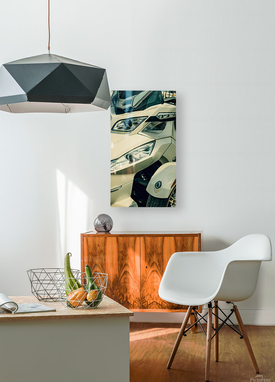 Head lights on the motor bike  HD Metal print with Floating Frame on Back