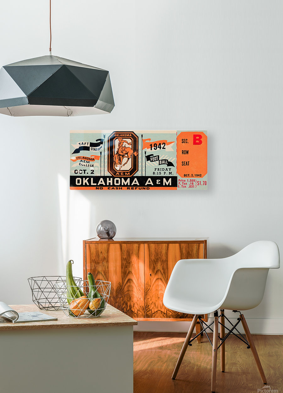 Oklahoma A&M Aggies Football Ticket Stub Art OSU Cowboys Ok State College Football Art  HD Metal print with Floating Frame on Back
