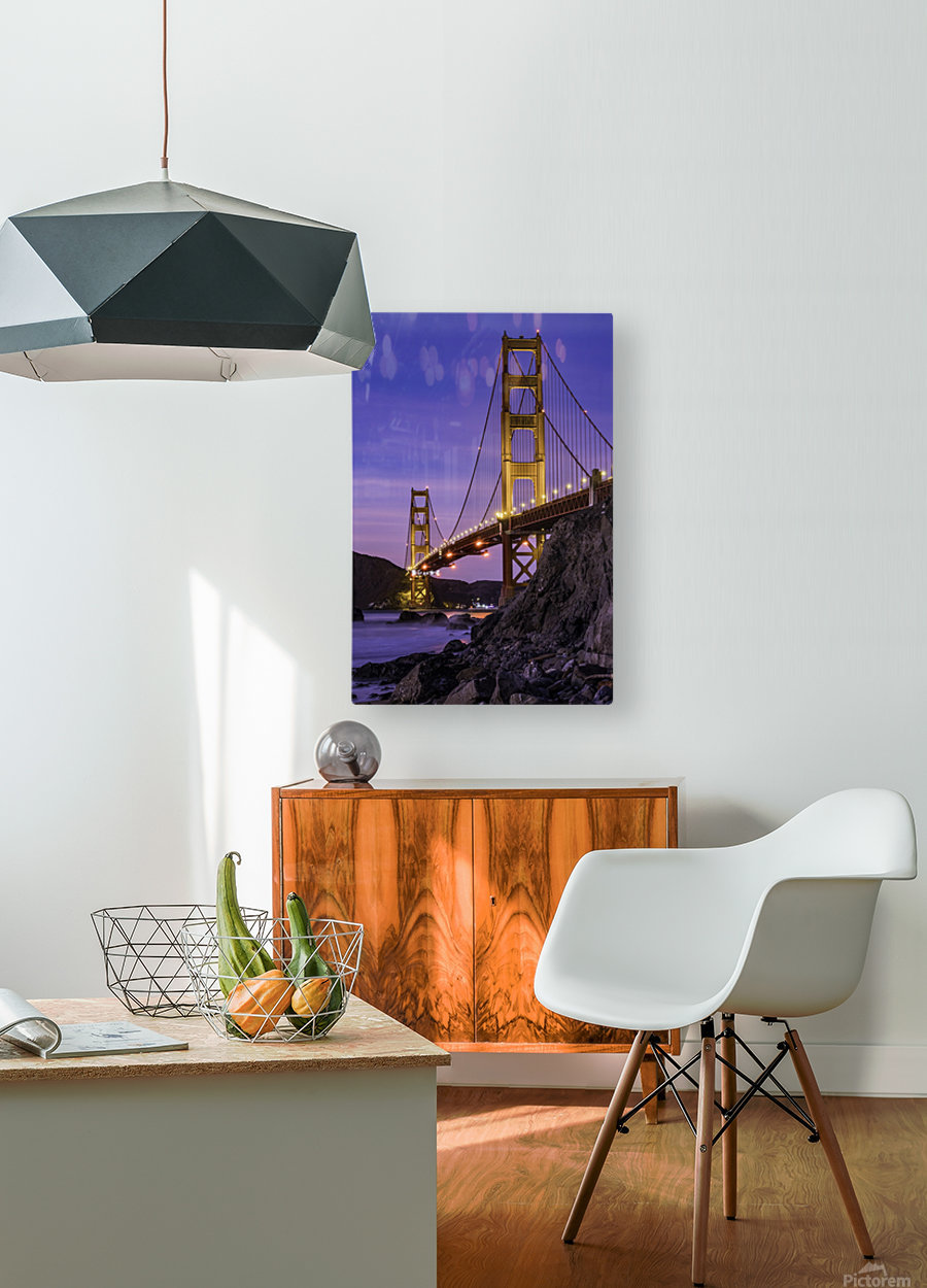 Golden Gate Blue Hour  HD Metal print with Floating Frame on Back