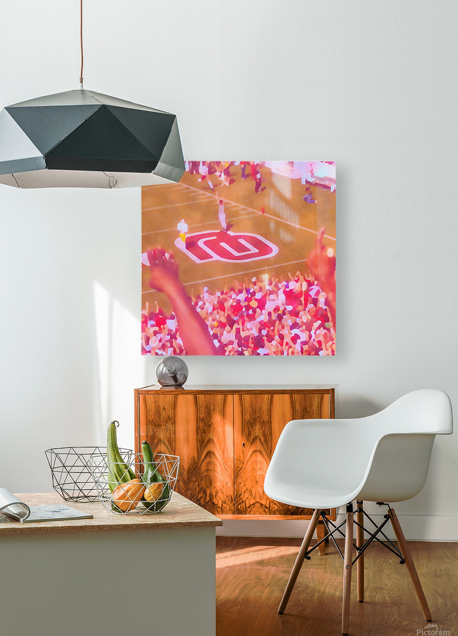 Oklahoma Football Art Owen Field OU Sooners Touchdown Art_Watercolor Style Retro 1980s Sports Art  HD Metal print with Floating Frame on Back
