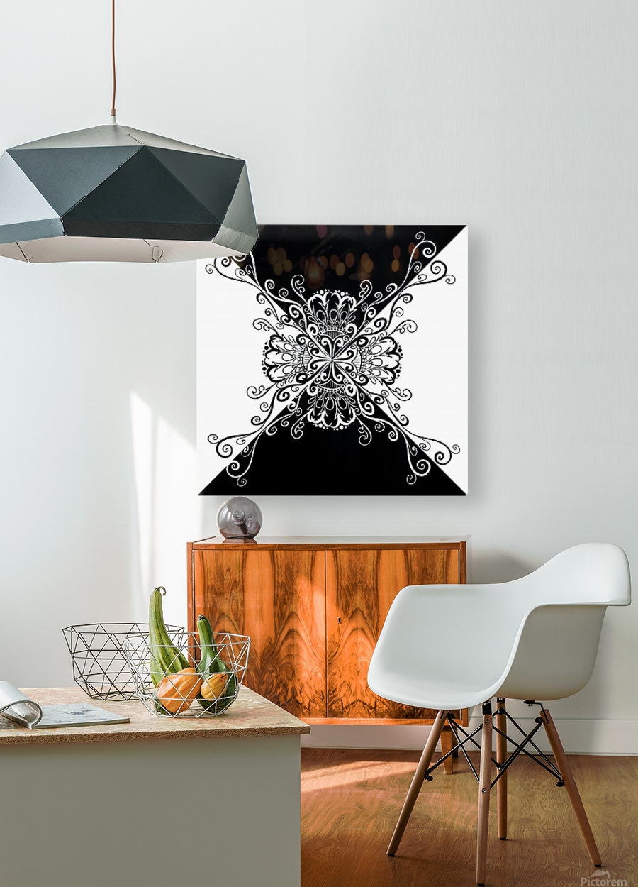 Black & white  HD Metal print with Floating Frame on Back