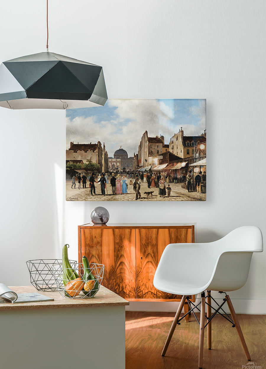 Market view  HD Metal print with Floating Frame on Back