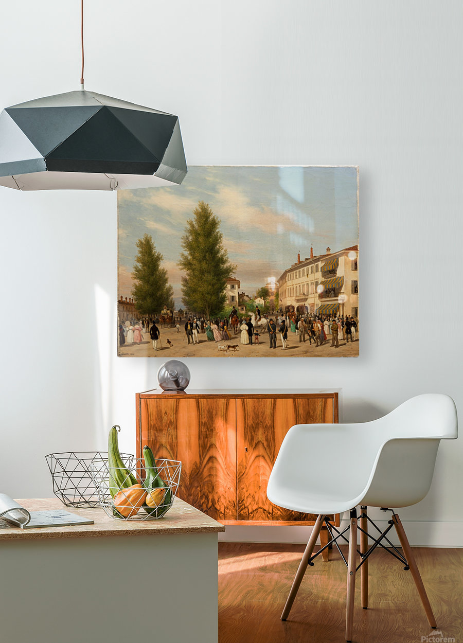 City street scene  HD Metal print with Floating Frame on Back