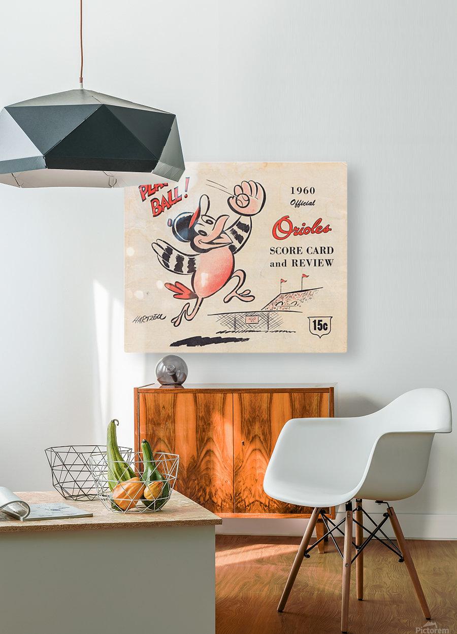 1960 baltimore orioles baseball score card art baseball poster  HD Metal print with Floating Frame on Back