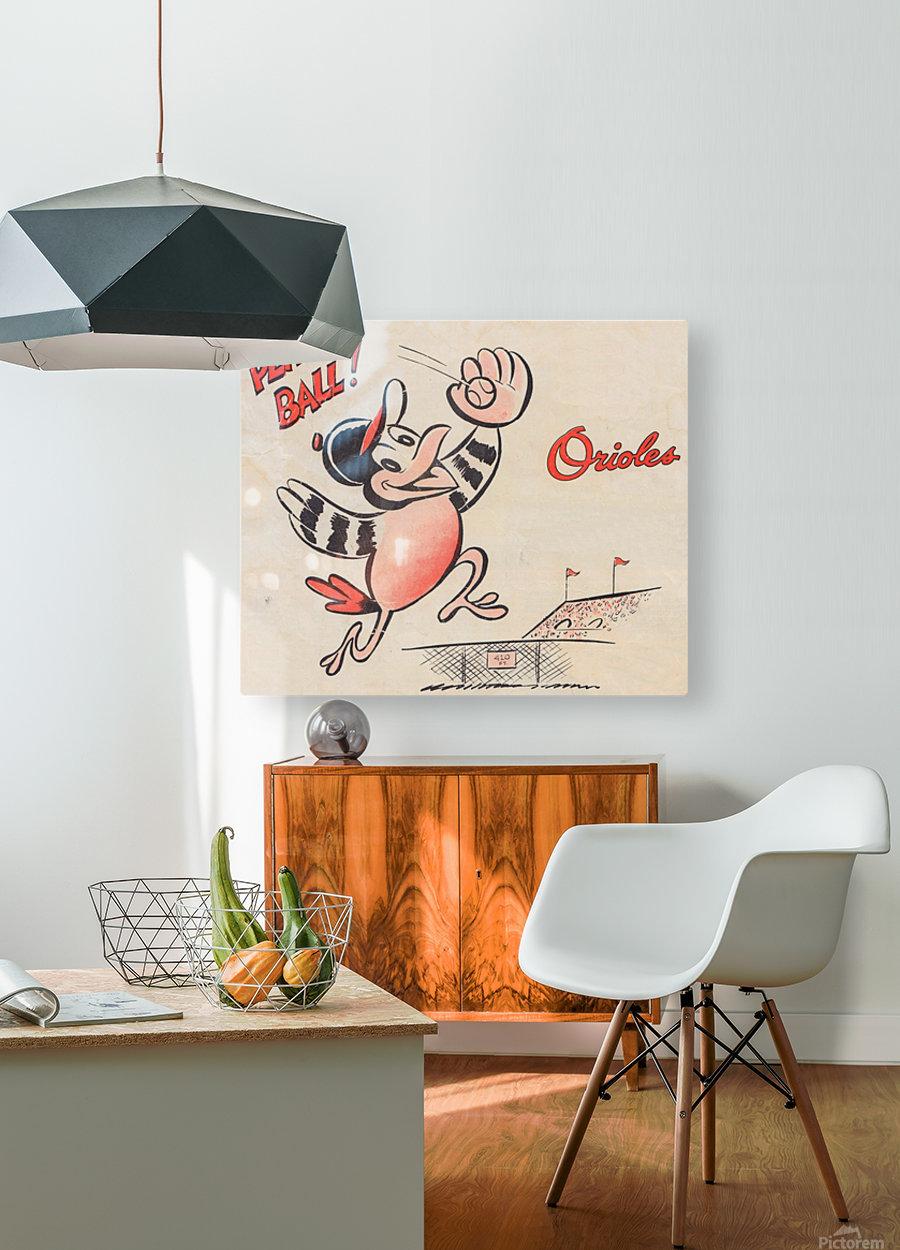 vintage baltimore orioles play ball art cartoon baseball poster metal canvas acrylic art  HD Metal print with Floating Frame on Back