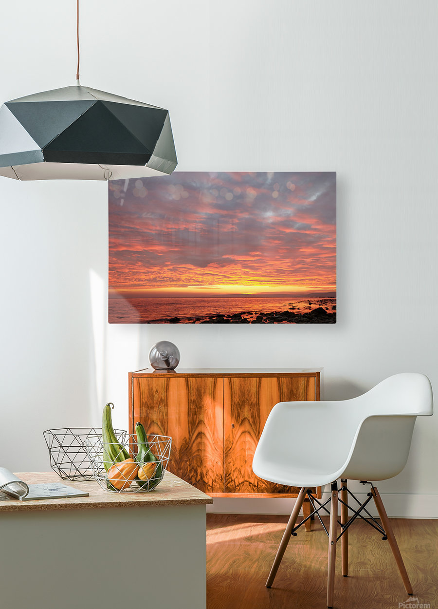 Dramatic sunset at a small bay  HD Metal print with Floating Frame on Back