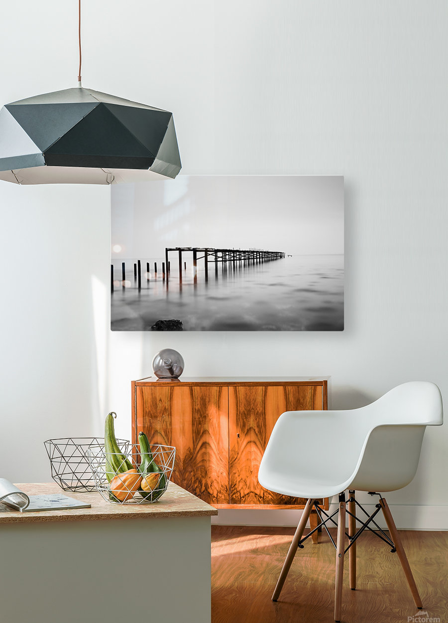 Abandoned pier in the sea at sunset  HD Metal print with Floating Frame on Back