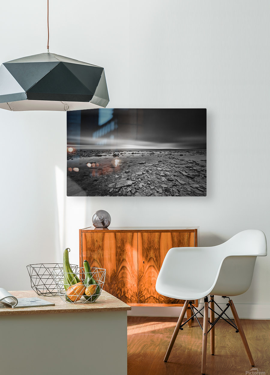Dramatic sunset at a small bay and rocky beach  HD Metal print with Floating Frame on Back