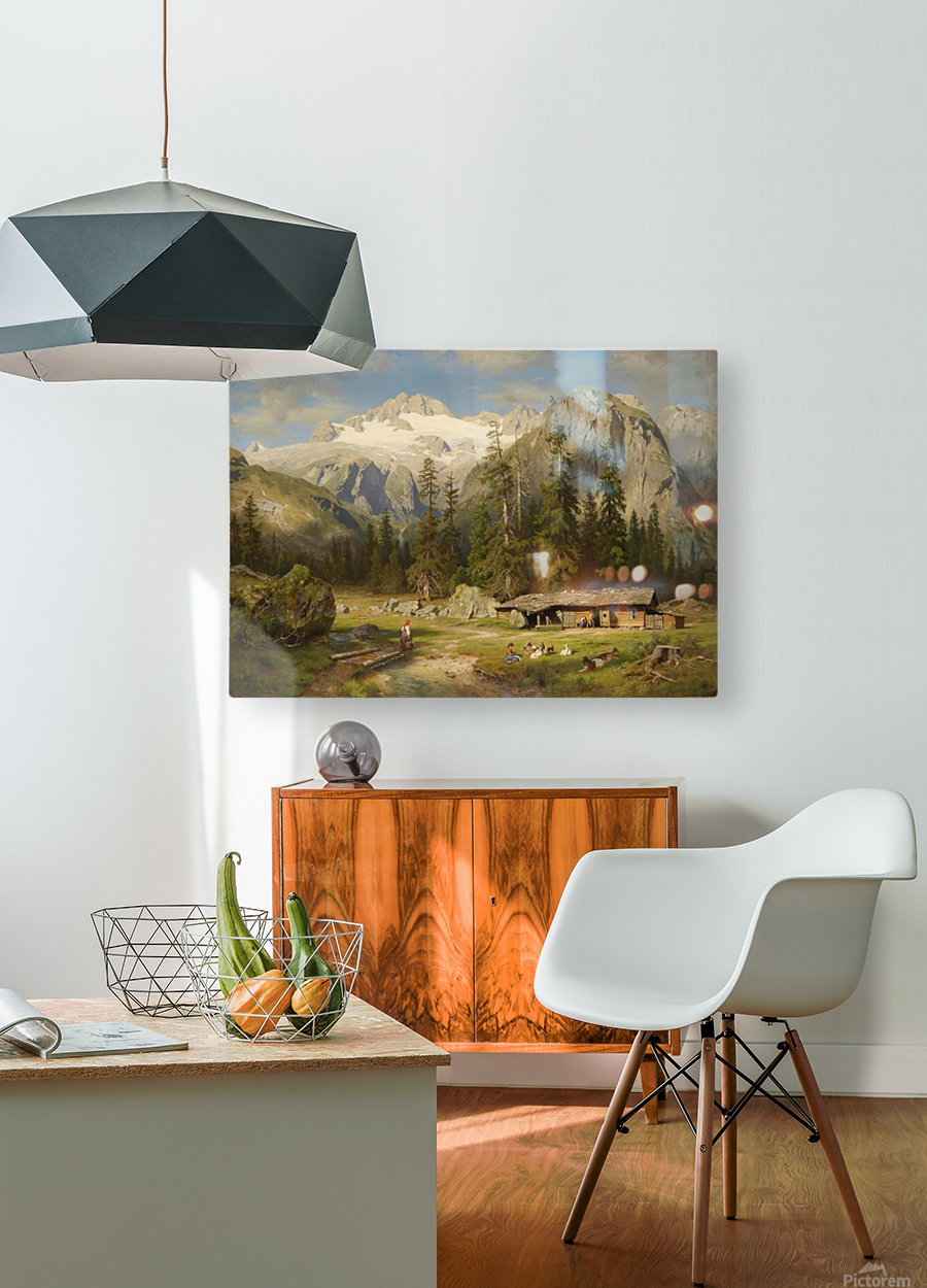 Eine Almwirtschaft  HD Metal print with Floating Frame on Back