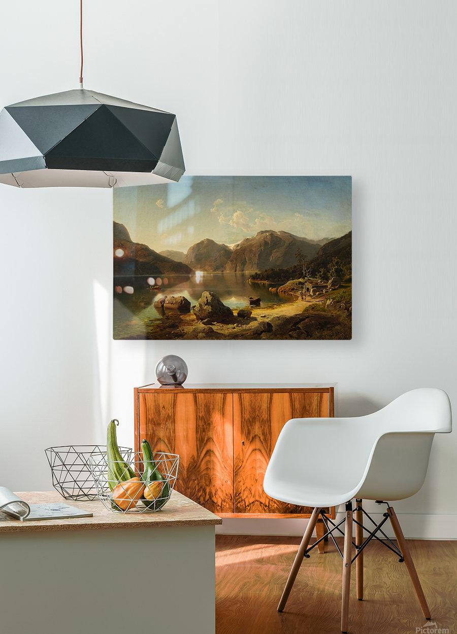 Norwegische Gebirgslandschaft am Morgen  HD Metal print with Floating Frame on Back