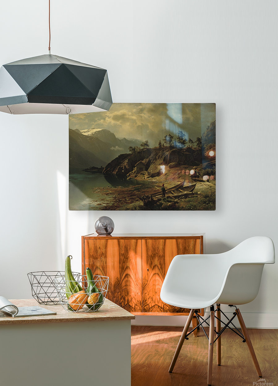 An einem Bergsee  HD Metal print with Floating Frame on Back