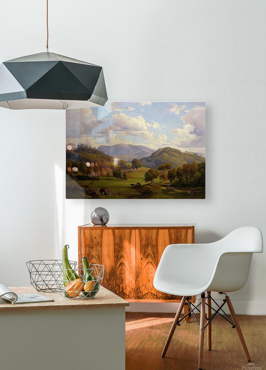 Blick auf den Felsberg im Odenwald  HD Metal print with Floating Frame on Back