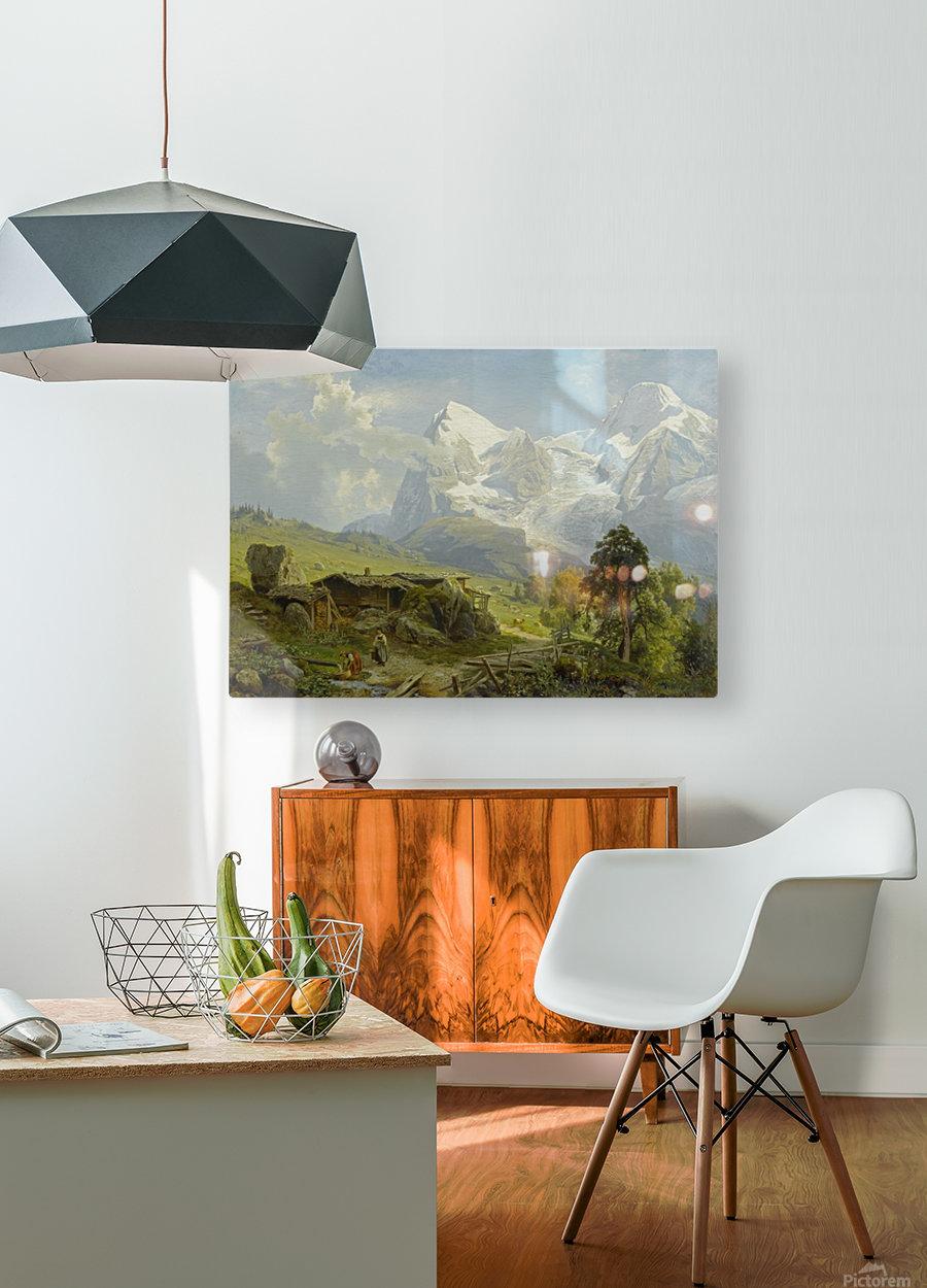 Blick von der Wengerenalp auf Eiger und Monch  HD Metal print with Floating Frame on Back