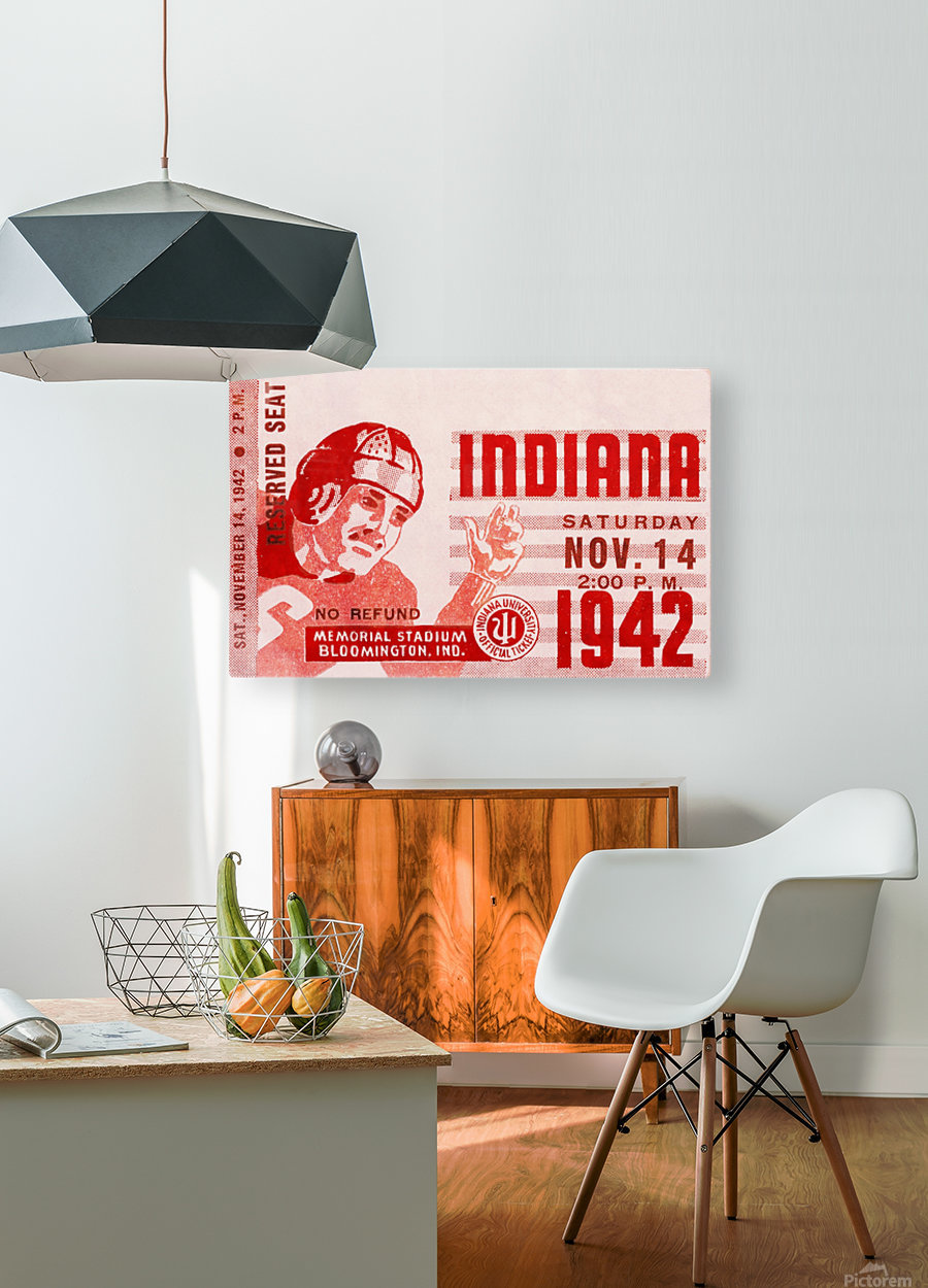 1942 Indiana Football Art  HD Metal print with Floating Frame on Back