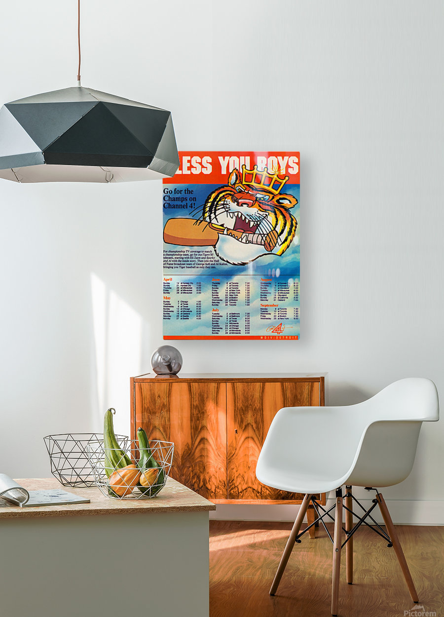 1985 detroit tigers bless you boys channel 4 wvid detroit michigan television tv ad poster metal art  HD Metal print with Floating Frame on Back