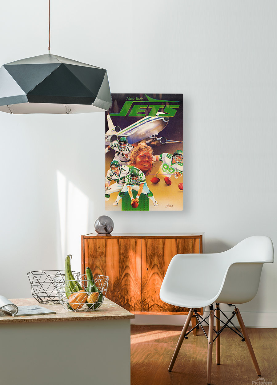 vintage new york jets poster art artist george zebot row one brand sports posters  HD Metal print with Floating Frame on Back