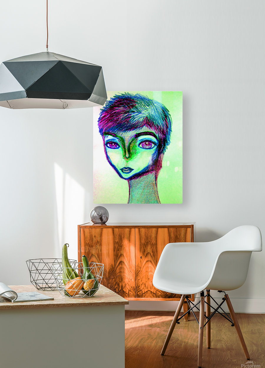 spritecolorsalien7  HD Metal print with Floating Frame on Back