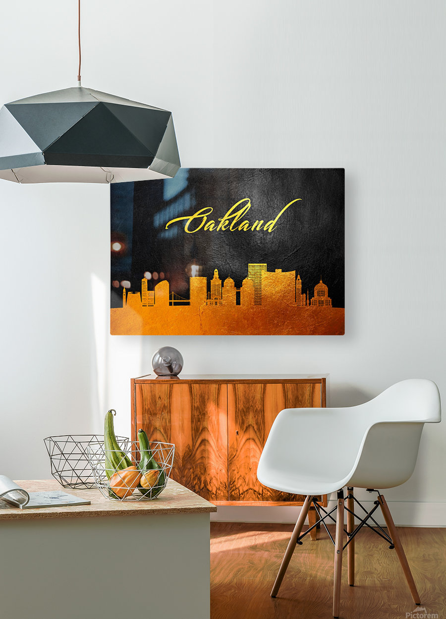 Oakland California Skyline Wall Art  HD Metal print with Floating Frame on Back