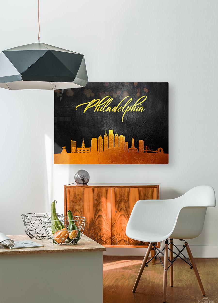 Philadelphia Pennsylvania Skyline Wall Art  HD Metal print with Floating Frame on Back