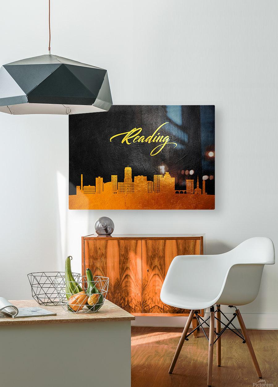 Reading Pennsylvania Skyline Wall Art  HD Metal print with Floating Frame on Back