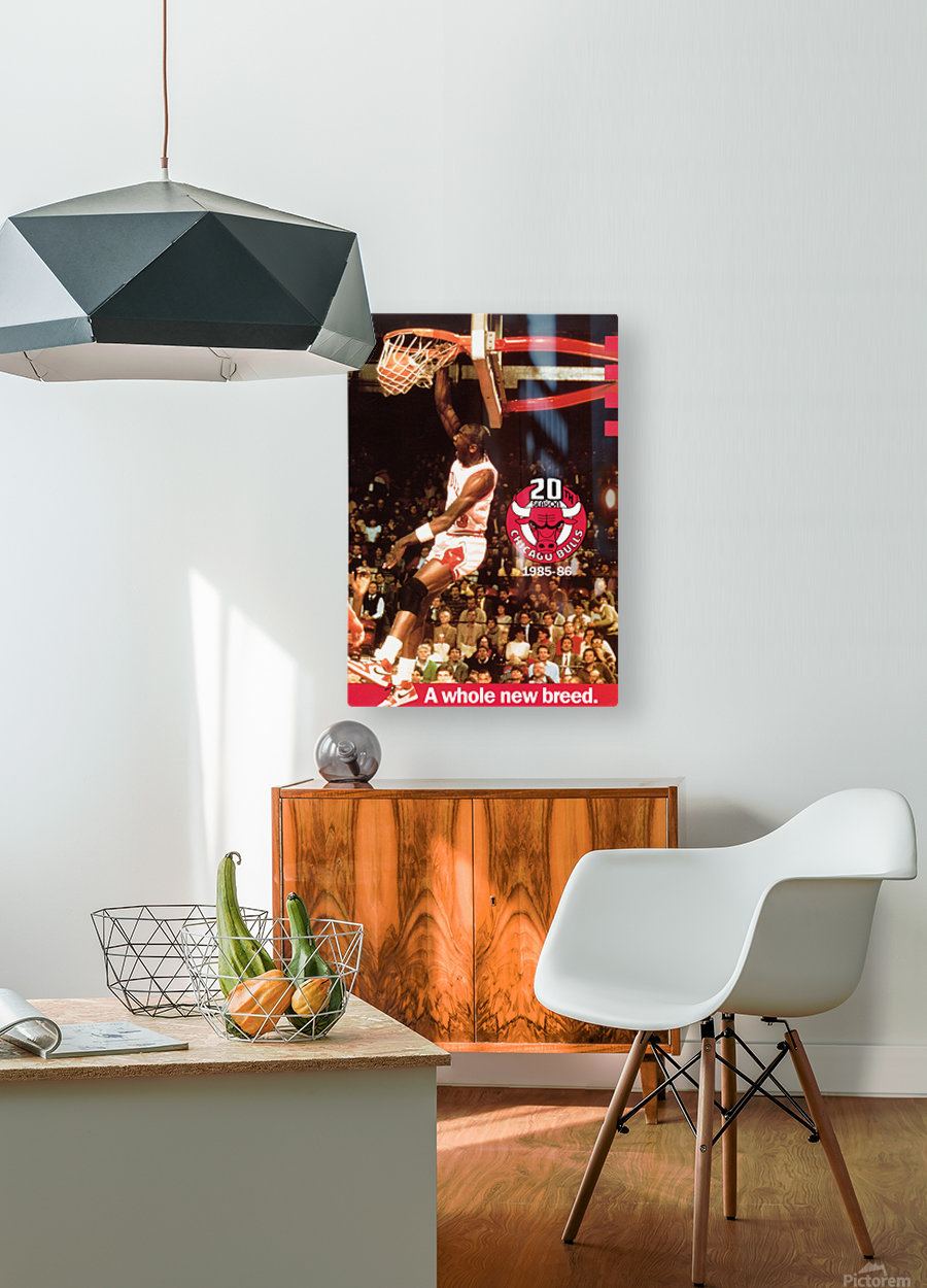 1985 Michael Jordan Dunk Poster Bulls 20th Anniversary  HD Metal print with Floating Frame on Back