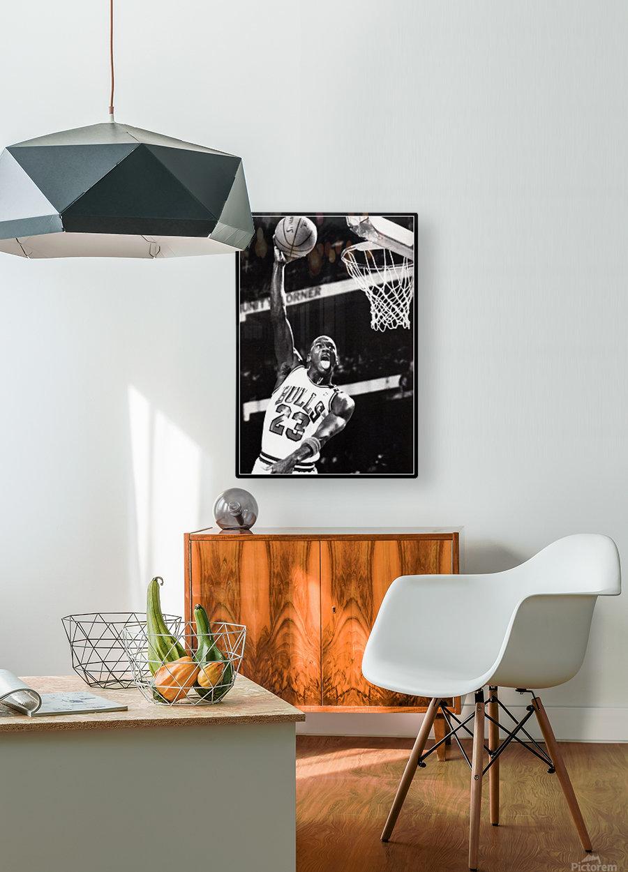 Retro Eighties Michael Jordan Basketball Art Print  HD Metal print with Floating Frame on Back