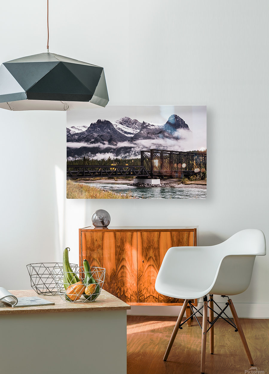 The Engine Bridge Canmore in Fall  HD Metal print with Floating Frame on Back