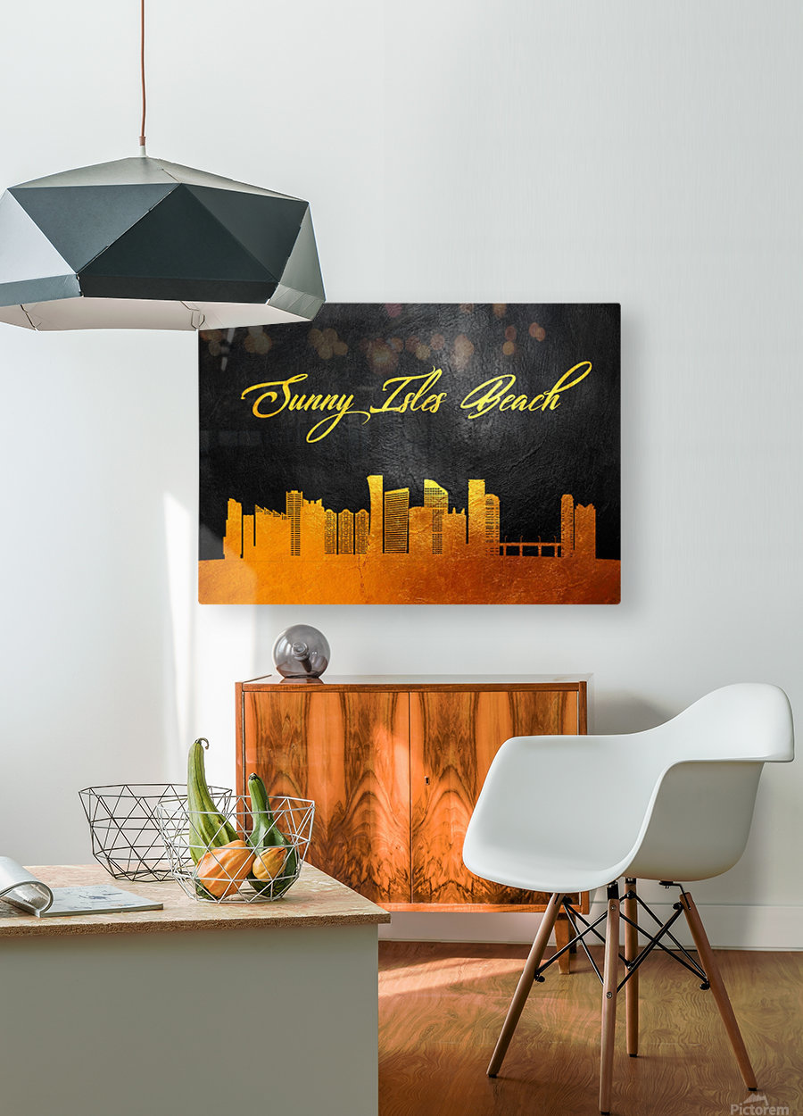 Sunny Isles Beach Florida Skyline Wall Art  HD Metal print with Floating Frame on Back