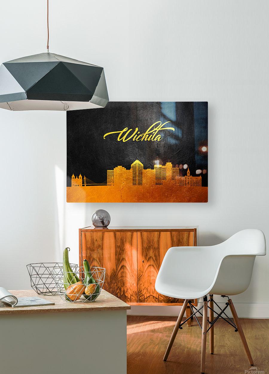 Wichita Kansas Skyline Wall Art  HD Metal print with Floating Frame on Back
