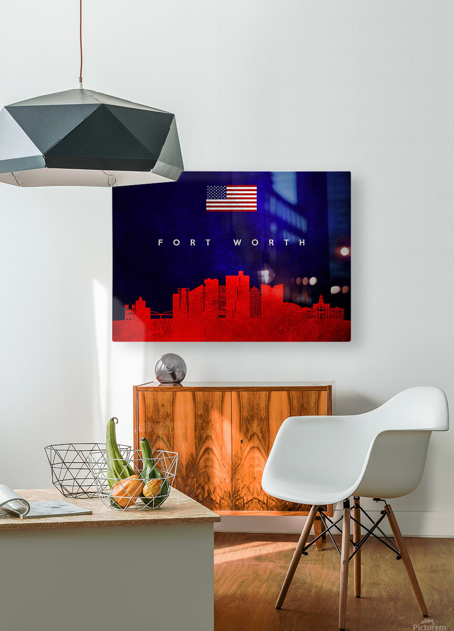 Fort Worth Texas Skyline Wall Art  HD Metal print with Floating Frame on Back