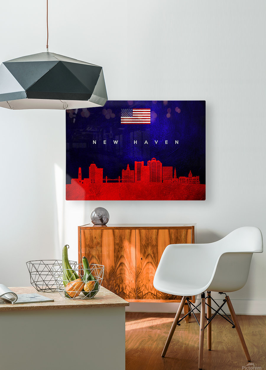 New Haven Connecticut Skyline Wall Art  HD Metal print with Floating Frame on Back