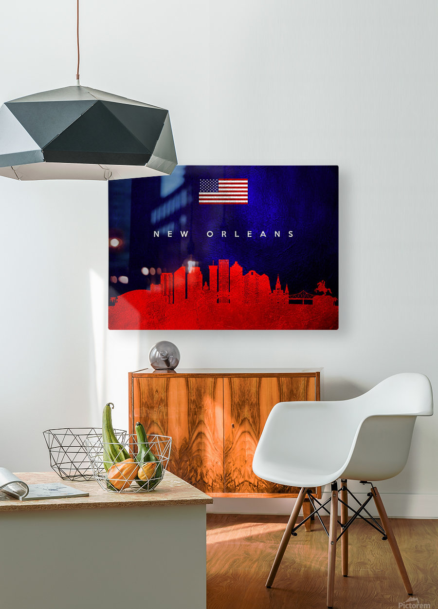 New Orleans Louisiana Skyline Wall Art  HD Metal print with Floating Frame on Back