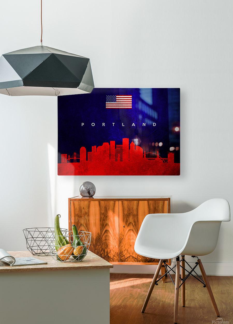 Portland Oregon Skyline Wall Art  HD Metal print with Floating Frame on Back