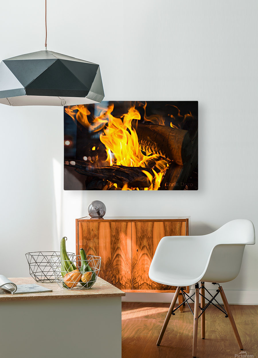 fire  HD Metal print with Floating Frame on Back