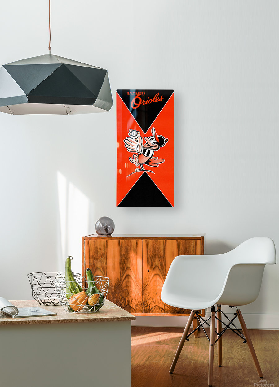 Row One Retro Remix Baltimore Orioles Press Guide  HD Metal print with Floating Frame on Back