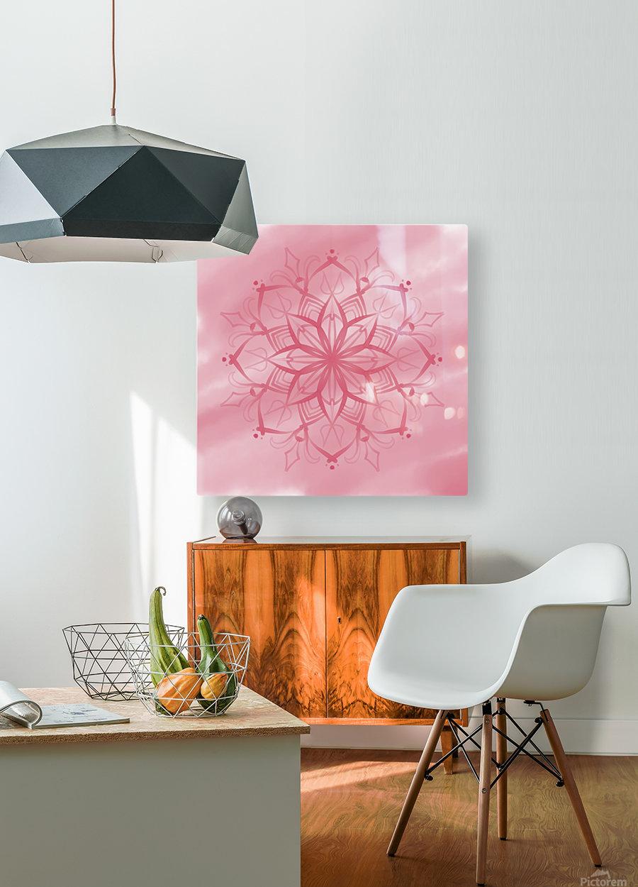 pink mandala  HD Metal print with Floating Frame on Back