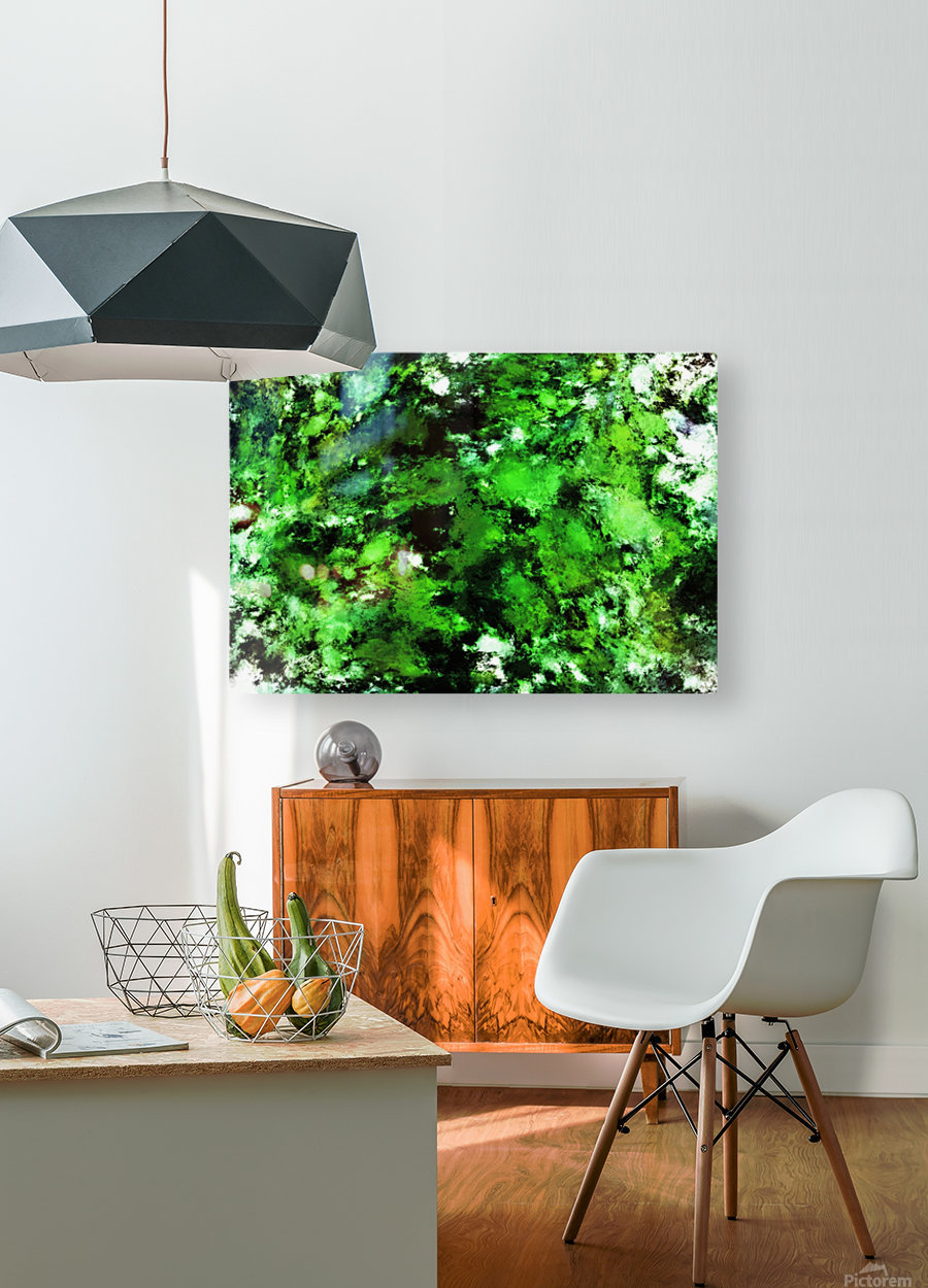 Green deflected  HD Metal print with Floating Frame on Back
