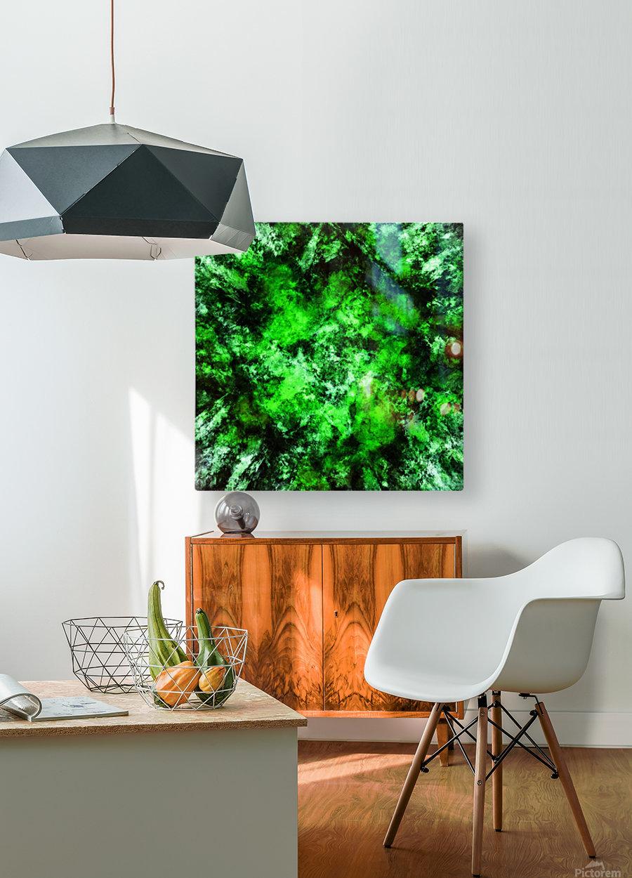 Green burst  HD Metal print with Floating Frame on Back