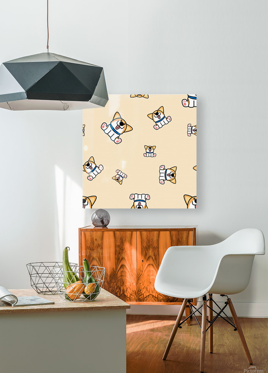 cute welsh corgi puppy sitting seamless pattern  HD Metal print with Floating Frame on Back