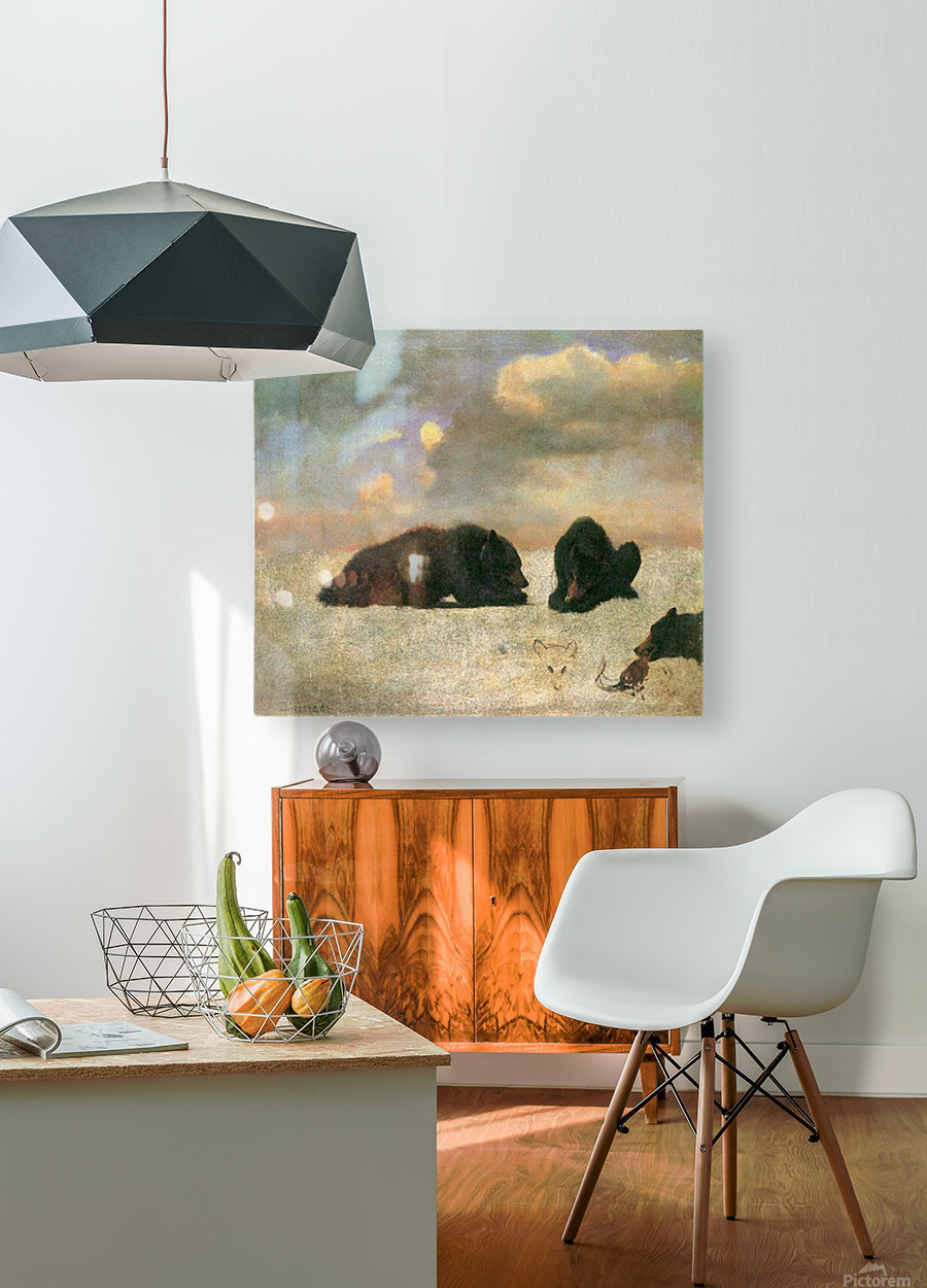 Grizzly Bears by Bierstadt  HD Metal print with Floating Frame on Back