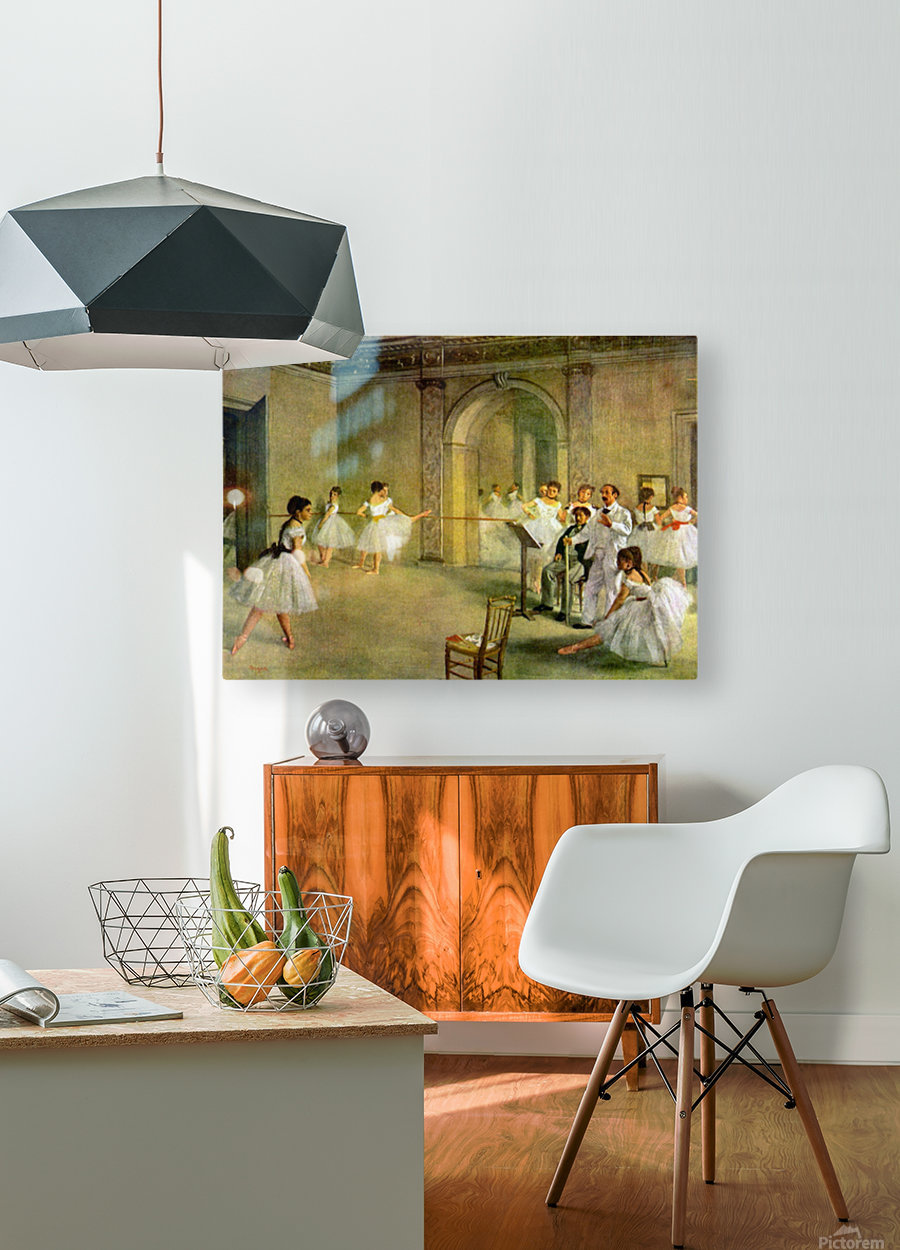 Hall of the Opera Ballet in the Rue Peletier by Degas  HD Metal print with Floating Frame on Back