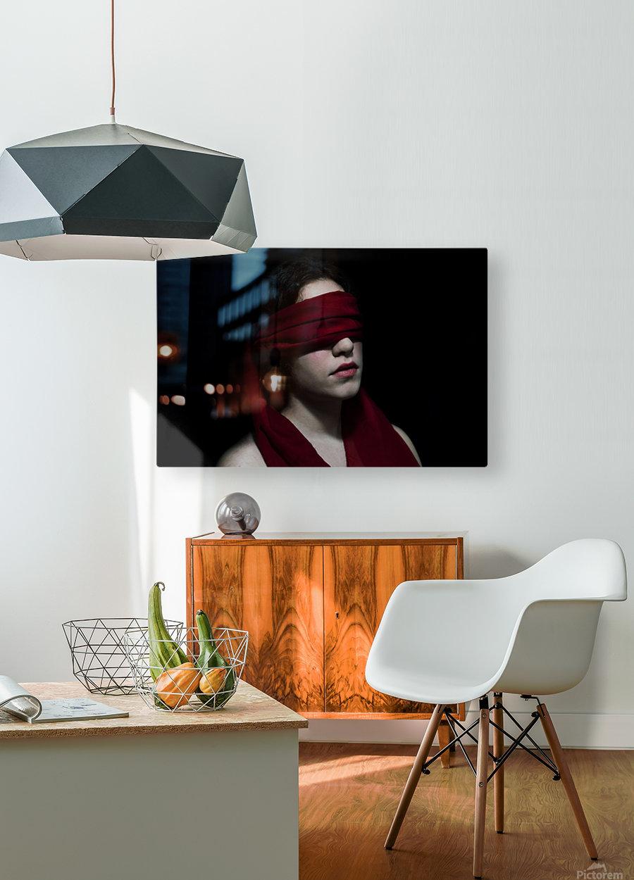 low key dark girl portrait  HD Metal print with Floating Frame on Back