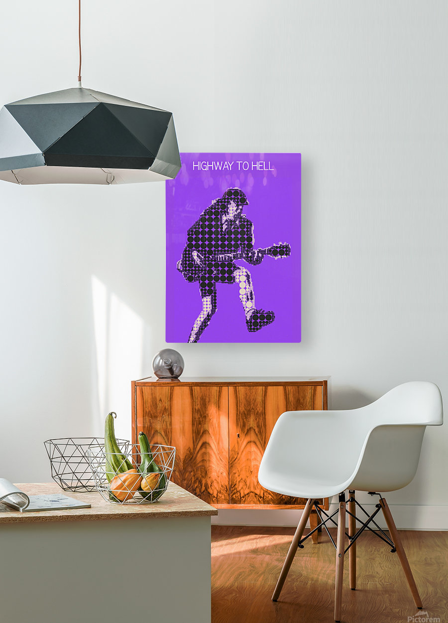 Highway to Hell   Angus Young  HD Metal print with Floating Frame on Back