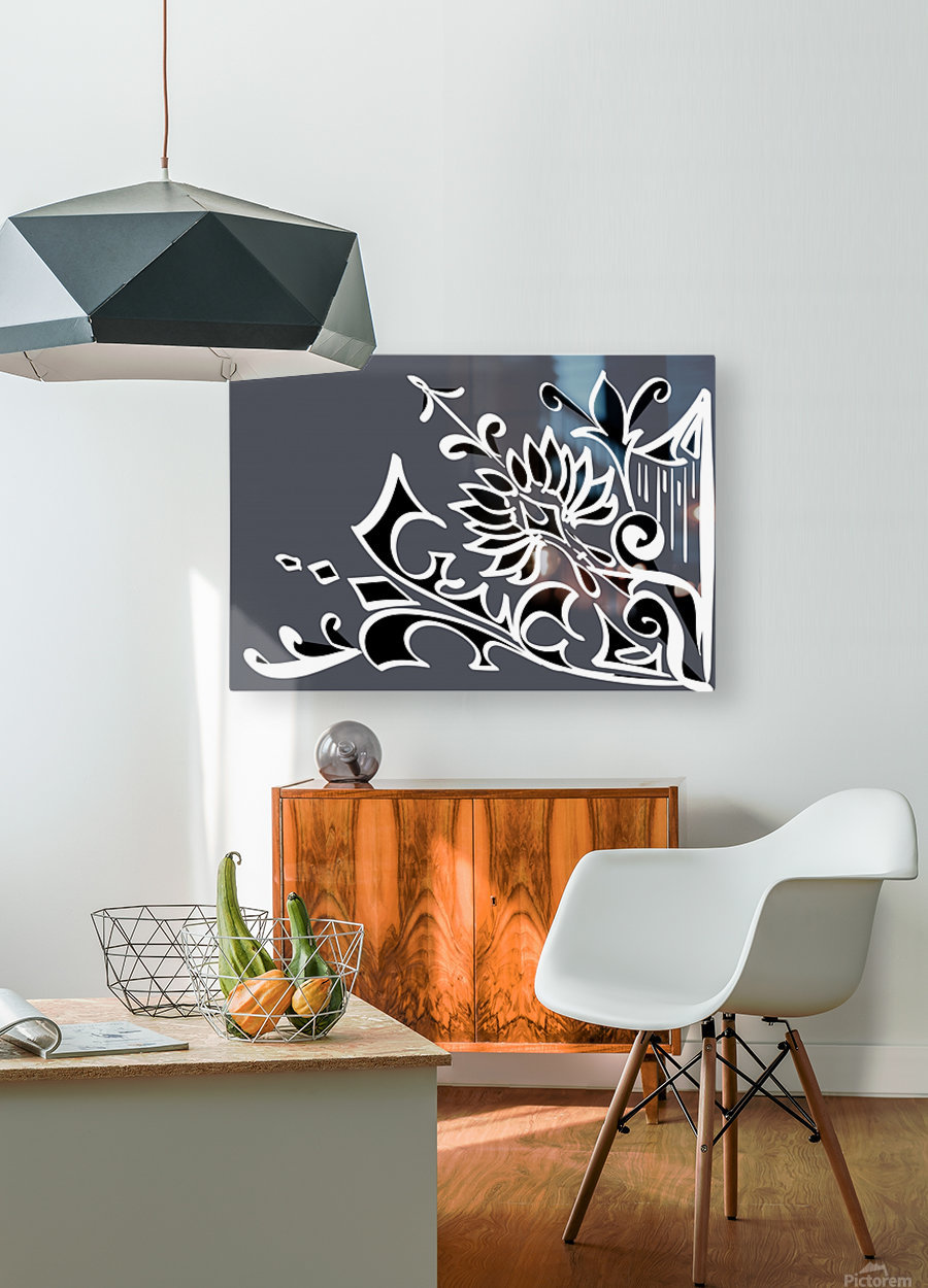 tricolor abstract  HD Metal print with Floating Frame on Back
