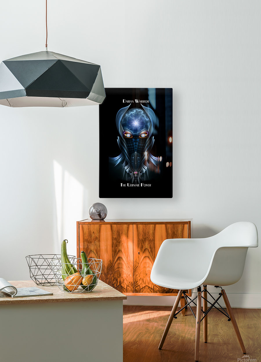 Darian Warrior The Ultimate Power Fractal Art Portrait  HD Metal print with Floating Frame on Back