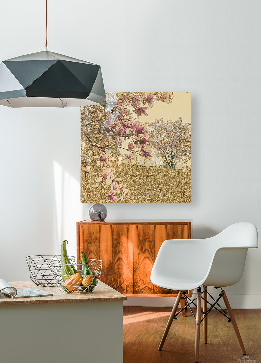PInk Magnolia Tree  HD Metal print with Floating Frame on Back