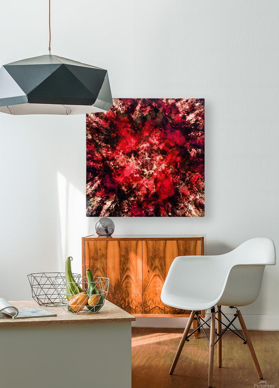 Red burst  HD Metal print with Floating Frame on Back