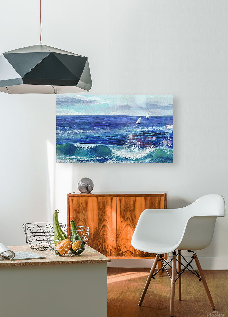 Two Boats In The Ocean Seascape Painting  HD Metal print with Floating Frame on Back