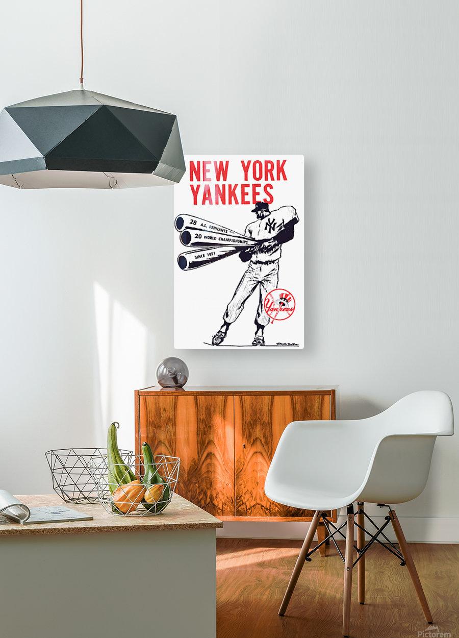 Artist Willard Mullin New York Yankees Art Poster  HD Metal print with Floating Frame on Back